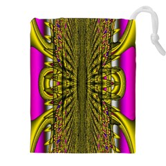 Fractal In Purple And Gold Drawstring Pouches (xxl) by Simbadda
