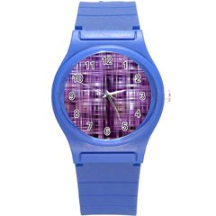 Purple Wave Abstract Background Shades Of Purple Tightly Woven Round Plastic Sport Watch (s) by Simbadda