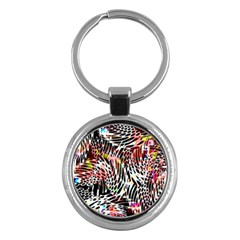 Abstract Composition Digital Processing Key Chains (round)  by Simbadda