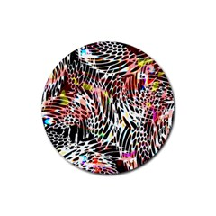 Abstract Composition Digital Processing Rubber Round Coaster (4 Pack)  by Simbadda