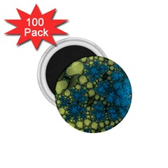 Holly Frame With Stone Fractal Background 1 75  Magnets (100 Pack)  by Simbadda