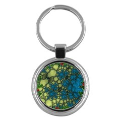 Holly Frame With Stone Fractal Background Key Chains (round)  by Simbadda
