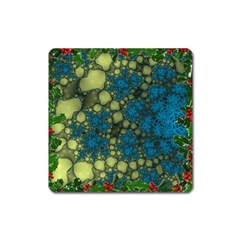 Holly Frame With Stone Fractal Background Square Magnet by Simbadda