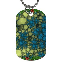 Holly Frame With Stone Fractal Background Dog Tag (two Sides) by Simbadda