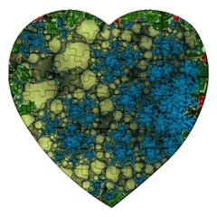 Holly Frame With Stone Fractal Background Jigsaw Puzzle (heart) by Simbadda