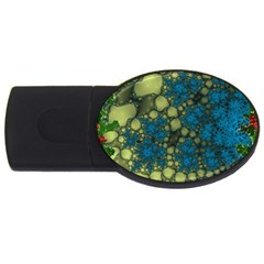 Holly Frame With Stone Fractal Background Usb Flash Drive Oval (4 Gb) by Simbadda