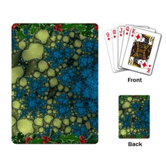 Holly Frame With Stone Fractal Background Playing Card