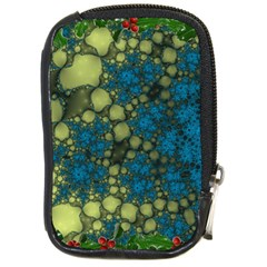 Holly Frame With Stone Fractal Background Compact Camera Cases by Simbadda