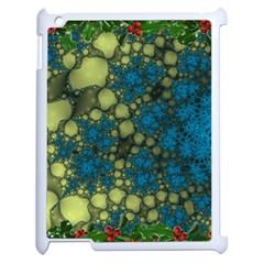 Holly Frame With Stone Fractal Background Apple Ipad 2 Case (white) by Simbadda