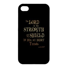 The Lord Is My Strength And My Shield In Him My Heart Trusts      Inspirational Quotes Apple Iphone 4/4s Hardshell Case by chirag505p