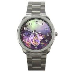 Wonderful Fairy In The Wonderland , Colorful Landscape Sport Metal Watch by FantasyWorld7