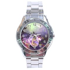 Wonderful Fairy In The Wonderland , Colorful Landscape Stainless Steel Analogue Watch by FantasyWorld7