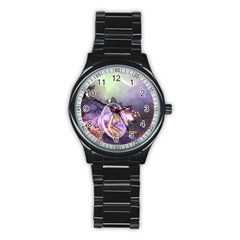 Wonderful Fairy In The Wonderland , Colorful Landscape Stainless Steel Round Watch by FantasyWorld7