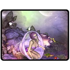 Wonderful Fairy In The Wonderland , Colorful Landscape Double Sided Fleece Blanket (large)  by FantasyWorld7