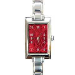 Deep Red Background Abstract Rectangle Italian Charm Watch by Simbadda