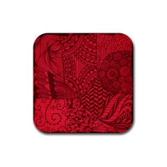 Deep Red Background Abstract Rubber Square Coaster (4 Pack)  by Simbadda