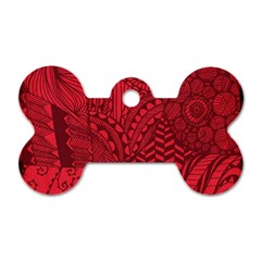 Deep Red Background Abstract Dog Tag Bone (two Sides) by Simbadda