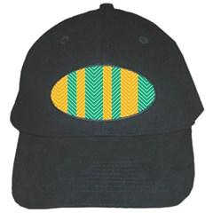 Green And Orange Herringbone Wallpaper Pattern Background Black Cap by Simbadda