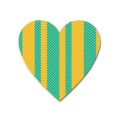 Green And Orange Herringbone Wallpaper Pattern Background Heart Magnet by Simbadda