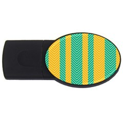 Green And Orange Herringbone Wallpaper Pattern Background Usb Flash Drive Oval (4 Gb) by Simbadda