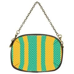 Green And Orange Herringbone Wallpaper Pattern Background Chain Purses (one Side)  by Simbadda