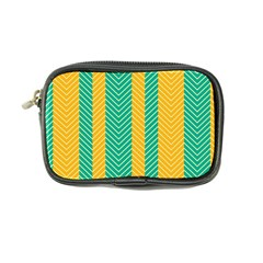 Green And Orange Herringbone Wallpaper Pattern Background Coin Purse by Simbadda