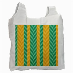 Green And Orange Herringbone Wallpaper Pattern Background Recycle Bag (one Side) by Simbadda