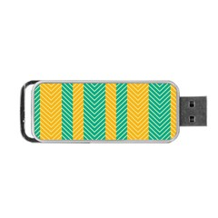 Green And Orange Herringbone Wallpaper Pattern Background Portable Usb Flash (two Sides) by Simbadda