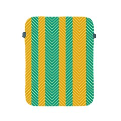 Green And Orange Herringbone Wallpaper Pattern Background Apple Ipad 2/3/4 Protective Soft Cases by Simbadda