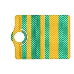 Green And Orange Herringbone Wallpaper Pattern Background Kindle Fire Hd (2013) Flip 360 Case by Simbadda