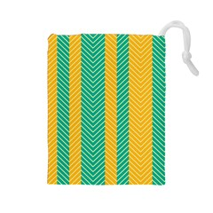 Green And Orange Herringbone Wallpaper Pattern Background Drawstring Pouches (large)  by Simbadda