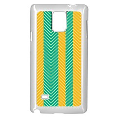 Green And Orange Herringbone Wallpaper Pattern Background Samsung Galaxy Note 4 Case (white) by Simbadda