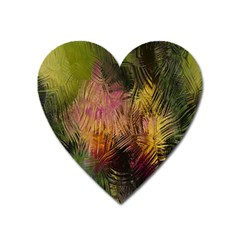 Abstract Brush Strokes In A Floral Pattern  Heart Magnet by Simbadda