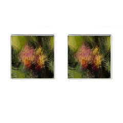 Abstract Brush Strokes In A Floral Pattern  Cufflinks (square) by Simbadda