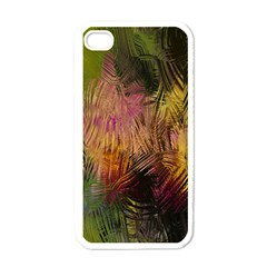 Abstract Brush Strokes In A Floral Pattern  Apple iPhone 4 Case (White)