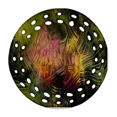 Abstract Brush Strokes In A Floral Pattern  Ornament (round Filigree) by Simbadda