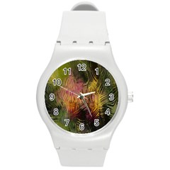 Abstract Brush Strokes In A Floral Pattern  Round Plastic Sport Watch (m) by Simbadda