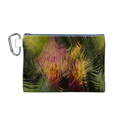 Abstract Brush Strokes In A Floral Pattern  Canvas Cosmetic Bag (m) by Simbadda