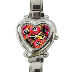 Abstract Clutter Pattern Baffled Field Heart Italian Charm Watch by Simbadda