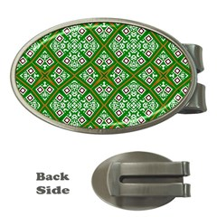 Digital Computer Graphic Seamless Geometric Ornament Money Clips (oval)  by Simbadda