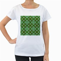 Digital Computer Graphic Seamless Geometric Ornament Women s Loose Fit T Shirt (white)