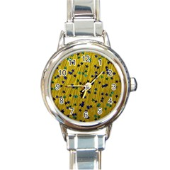 Abstract Gold Background With Blue Stars Round Italian Charm Watch by Simbadda