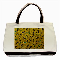 Abstract Gold Background With Blue Stars Basic Tote Bag by Simbadda
