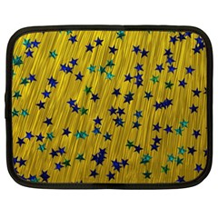 Abstract Gold Background With Blue Stars Netbook Case (xxl)  by Simbadda