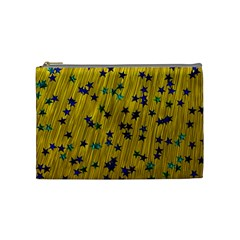 Abstract Gold Background With Blue Stars Cosmetic Bag (medium)  by Simbadda