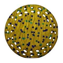 Abstract Gold Background With Blue Stars Round Filigree Ornament (two Sides) by Simbadda