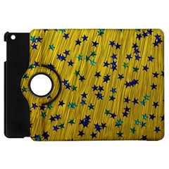 Abstract Gold Background With Blue Stars Apple Ipad Mini Flip 360 Case by Simbadda