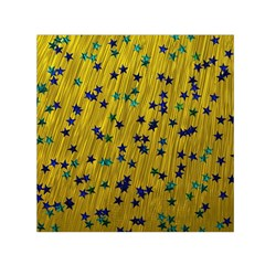 Abstract Gold Background With Blue Stars Small Satin Scarf (square) by Simbadda