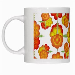 Colorful Stylized Floral Pattern White Mugs by dflcprints