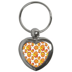 Colorful Stylized Floral Pattern Key Chains (heart)  by dflcprints